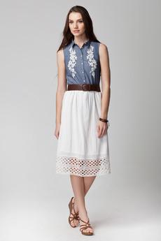 Белая летняя юбка из 100% хлопка Vilatte со скидкой