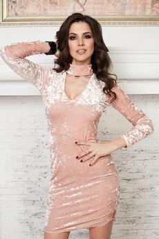Бежевое бархатное платье Angela Ricci