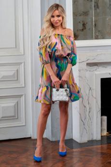 Разноцветное платье с открытыми плечиками Look Russian