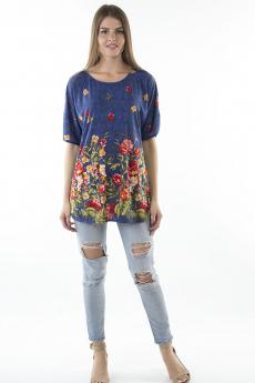 Синяя блуза с цветами Bast