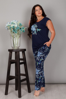 Темно-синий костюм с цветами ИвРосТекстиль