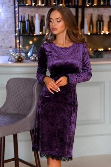 Велюровое платье фиолетового цвета Open-Style